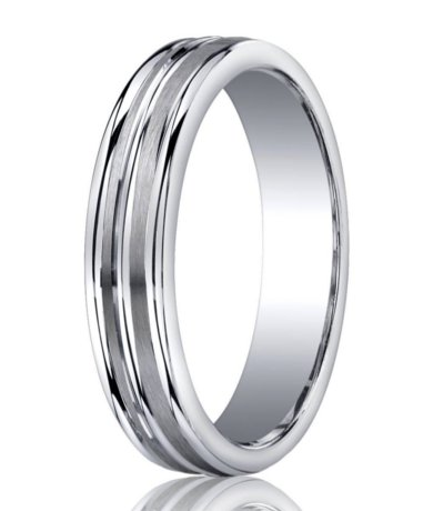 mens designer silver satin wedding band 3 polished edges