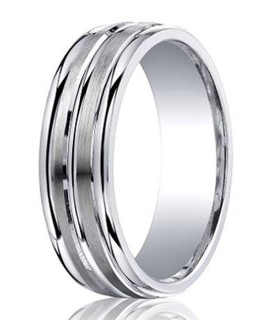 argentium silver wedding ring with three polished bands 7mm mbs1023 mbs1023
