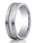 Benchmark Argentium Silver Wedding Ring with Center Channel | 7mm