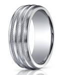 Benchmark Argentium Silver Wedding Band with Polished Braids | 10mm