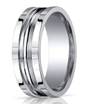 Benchmark Argentium Silver Ring with Double Grooved Center | 10mm