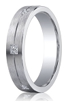 Brushed Argentium Silver Wedding Ring with 6 Diamonds on Center Groove | 5mm - MBSD1001
