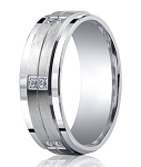 Satin Finished Argentium Silver Wedding Ring with 12  Pave-Set Diamonds and Polished Edges | 9mm - MBSD1004