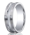 Benchmark Argentium Silver Wedding Band with 12 Pave Set Diamonds | 9mm