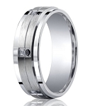 Benchmark Argentium Silver Wedding Band with Clear and Black Diamond Pairs | 9mm