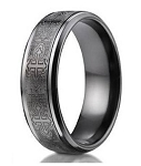Designer Men's Black Titanium Cathedral Cross Ring | 9mm - MBT1001