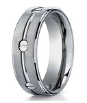 Men's Designer Titanium Ring with Polished Groove and Inset Screws | 8mm - MBT1013