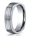 Men's Designer Titanium 4-Sided Ring with Horizontal Grooves | 7mm - MBT1014