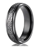 Men's Designer Black Titanium Ring with Hammered Finish | 7mm - MBT1015