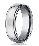 Men's Designer 7mm Titanium Wedding Band with Step-Down Polished Edge - MBT1017