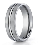 Designer Titanium Wedding Band with Satin Finish and Polished Center Trim | 6mm