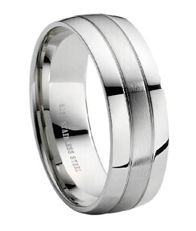 stainless steel wedding ring with polished and brushed finish 8 mm mss0005 mss0005 - Stainless Steel Wedding Rings