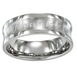 "Men's Stainless Steel Wedding Ring with ""Forever Love"" Engraving 