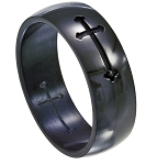 Black Stainless Steel Wedding Band with Etched Cross Design | 8mm