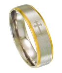 Comfort-fit Stainless Steel Wedding Ring with Cross Design and Two-Tone Finish  6 mm - MSS0089