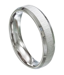 Stainless Steel 5 mm Wedding Ring with Brushed Finish and Beveled Edges - MSS0104