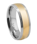 Two-toned Stainless Steel Wedding Ring with Polished Finish and Grooved Edges | 7mm - MSS0142