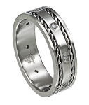 Stainless Steel Wedding Ring with CZ's and Decorative Edging - MSS0175
