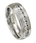 Men's Stainless Steel Grooved Wedding Ring with 9 CZs | 8mm - MSS0188