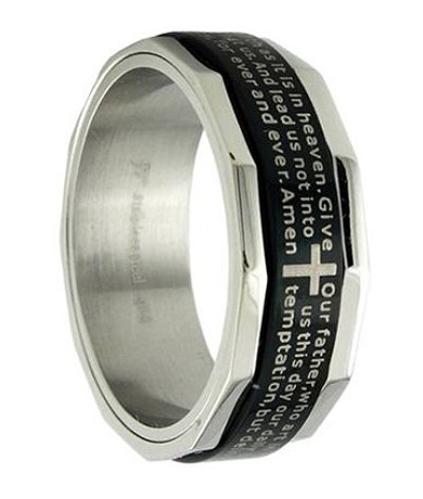 Mens Stainless Steel Band Prayer Inlay