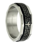 Men's Black Stainless Steel Band with Lord's Prayer | 8mm - MSS0197