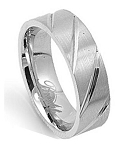 Men's Stainless Steel Wedding Ring with Satin Finish and Diagonal Grooves | 7mm - MSS0621