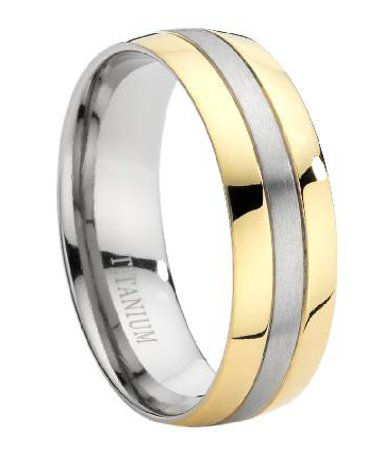 wedding ring with two toned and polished finish 8 mm mt0005 - Two Tone Wedding Rings