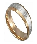 "Men's Two-Toned Engraved Titanium Ring Engraved with ""Forever Love"" 