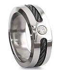 Black Cable  Titanium Ring With CZ - MT0123