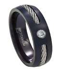 Black Titanium Cable Wedding Ring for Men with Single CZ | 7mm - MT0151