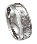 Hammered Finish Men's Titanium Wedding Band with Beveled Edges | 8mm
