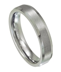 Tungsten Wedding Ring with Satin Finish and Beveled Edges 5.5 mm - MTG0042