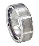 Vertical Faceted Tungsten Wedding Ring with Satin Finish and Beveled Edges- 8mm - MTG0045