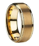 Gold-Plated Tungsten Wedding Ring with Satin-Finish and Polished Edges - 8mm - MTG0048