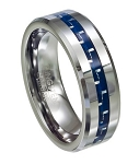 Blue Carbon Fiber Men's Tungsten Ring with Beveled Edges and Polished Finish – 8mm - MTG0054