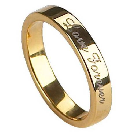 mens engraved tungsten wedding ring gold finish - Mens Gold Wedding Rings