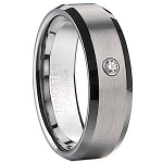 Satin Finish Tungsten Wedding Band With CZ - MTG0069