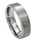Men's Tungsten Wedding Ring with Polished Step Down Edges | 7mm