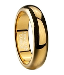 Classic Gold Tone Tungsten Wedding Ring with Domed Profile | 6mm