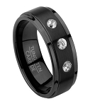 Black Tungsten Wedding Ring with 3 CZs and Step Down Edges | 8mm