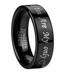 """You Are My Only"" Wedding Ring for Men in Black Tungsten 