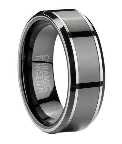 Mens Tungsten Wedding Ring with Black Ceramic Inlay