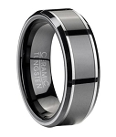 Tungsten Wedding Band for Men with Black Ceramic Inlay | 8mm