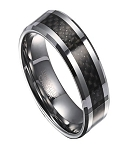Men's Tungsten Wedding Ring with Black Carbon Fiber Inlay | 8mm