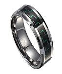 Tungsten Wedding Band for Men with Green Carbon Fiber Inlay | 8mm