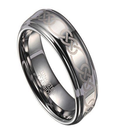 celtic knot tungsten wedding ring for men with polished finish 8mm mtg0108 - Celtic Mens Wedding Rings