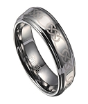 Celtic Knot Tungsten Wedding Ring for Men with Polished Finish | 8mm