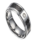 Men's Tungsten Wedding Band with Black Carbon Fiber and CZ | 8mm