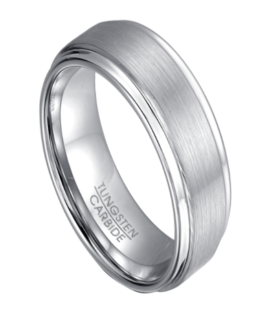classic white tungsten wedding ring with step down edges 8mm mtg0117 - Mens Tungsten Wedding Ring