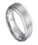 Classic White Tungsten Wedding Ring with Step Down Edges | 8mm